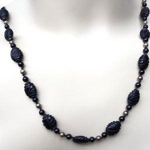 "Black Onyx Necklace NWT 24 1/2"""